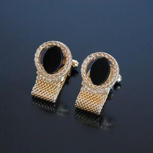 Vtg Wrap Around Jeweled Onyx Gold Tone Cufflinks